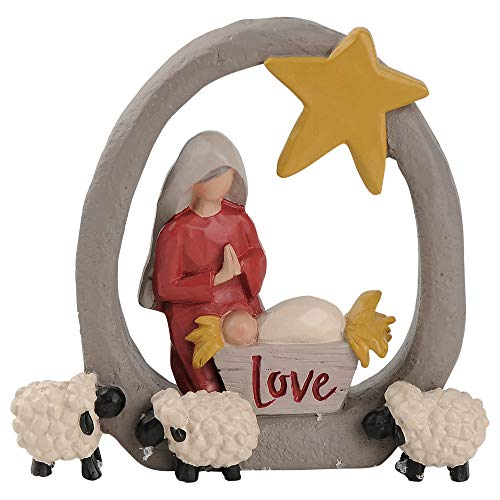 Blossom Bucket 188-11892 Mary and Baby Jesus with Sheep Barbara Lloyd Figurine