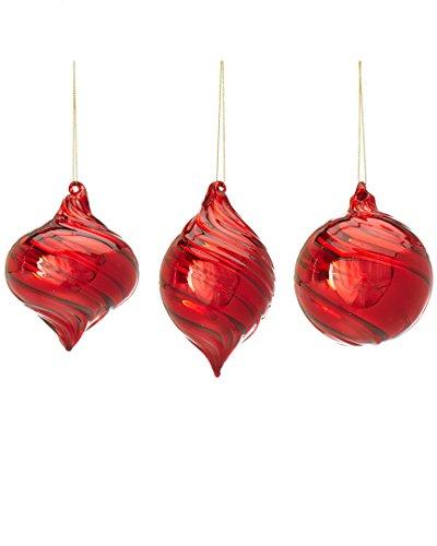 Kurt Adler 90mm Glass Red Ball, Onion & Finial Ornaments 3/asstd.