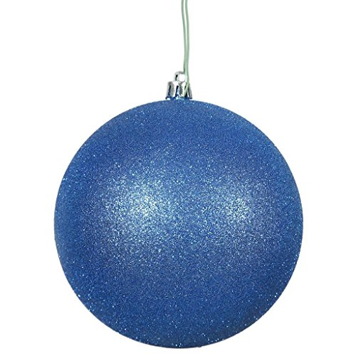 Vickerman 444078 – 4″ Blue Glitter Ball Christmas Tree Ornament (6 pack) (N591002DG)