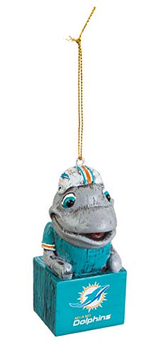 Team Sports America Mascot Ornament, Miami Dolphins, Set of 2
