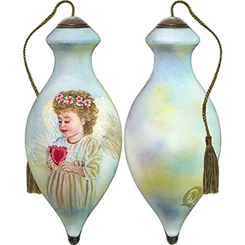 Ne'Qwa Art Hand Painted Blown Glass Little Miracles Ornament, Angel