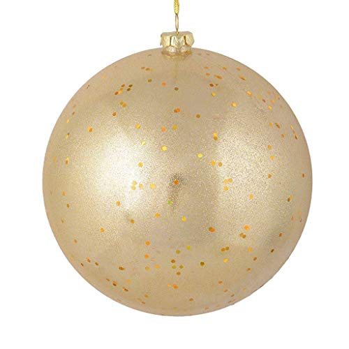 Vickerman 535271-4.75″ Champagne Glitter Clear Ball Christmas Tree Ornament (4 pack) (N184238)