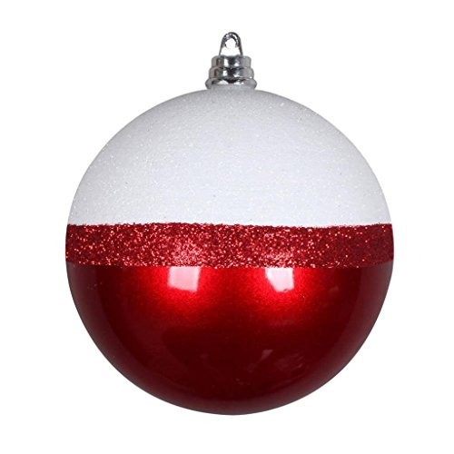 Vickerman 553046-5″ Red/White Glitter Candy Durian Ball Christmas Tree Ornament (4 pack) (MT180803)