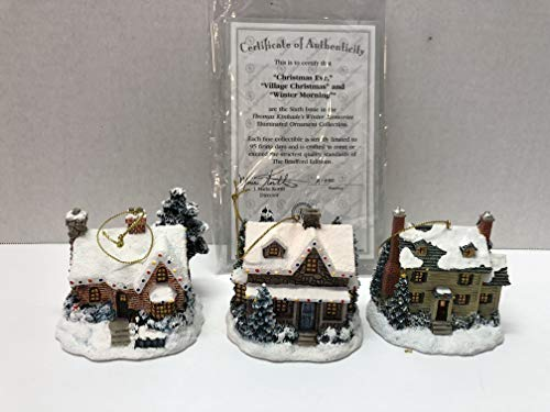 Bradford Thomas Kinkade Winter Memories Set of 3 Illuminated Ornaments