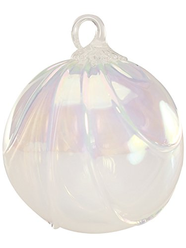 Red Co. Iridescent Glass Eye Studio Hand Blown Ball Ornament, Snow Drape
