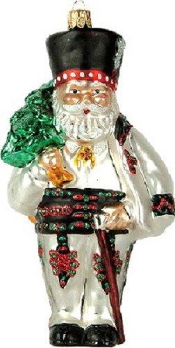 Pinnacle Peak Trading Company Polish Poland Santa Polish Glass Christmas Ornament Made in Poland Decoration