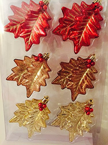 Snowberry 4.2 in. Leaf Shatter-Resistant Ornament (6-Piece)