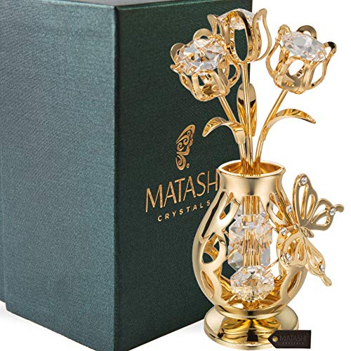 Matashi 24K Gold Plated Crystal Studded Flower Ornament in a Vase with Decorative Butterfly, Forever Gifts for Her Anniversary, Valentine's Day, Mother's Day