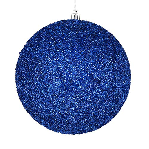 Vickerman 532188-6″ Blue Beaded Ball Christmas Tree Ornament (4 pack) (N185802D)