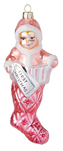 RAZ Imports Pink Girl Stocking First Christmas 2.5 x 6 Inch Glass Christmas Ornament Figurine