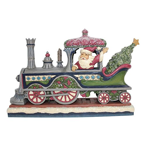 Enesco Jim Shore Heartwood Creek Victorian Santa in Train