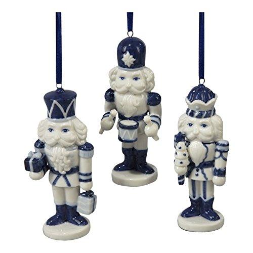 Porcelain Delft Blue Nutcracker Ornament Set Of 3