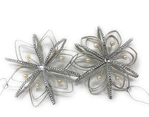 RAZ Imports – Pearl and Rhinestone Snowflake Ornaments – 2 Sets of 2 (4 Ornaments)