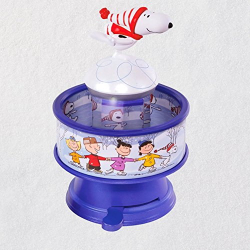 Hallmark Keepsake Christmas Ornament 2018 Year Dated, The Peanuts Gang Snoopy Skates! with Music, Light and Motion