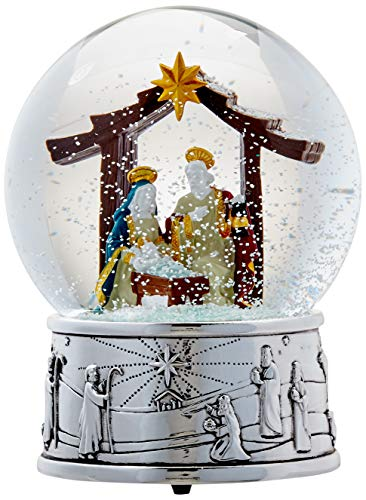 Reed & Barton 875190 Nativity Musical Snowglobe, Silver