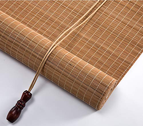 Bamboo Roller Shades Lightweight, Light Filtering Roll Up Blinds with Valance for Balcony Office Hanging Ornaments, Carbonized Color, Shading Degree: 55% (Color : Flat Curtain, Size : 50x180cm)