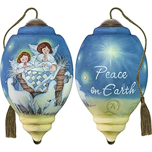 Ne'Qwa Art Hand Painted Blown Glass Peace On Earth Ornament, Nativity