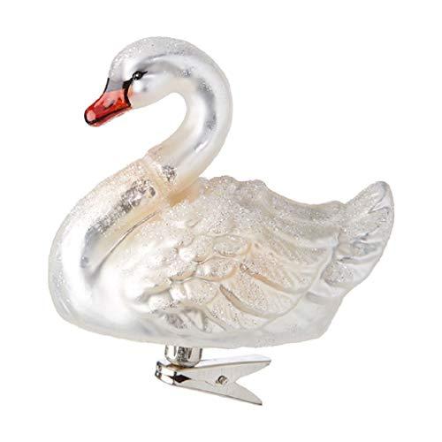 Raz 4-inch Clip On Glass Swan Ornament