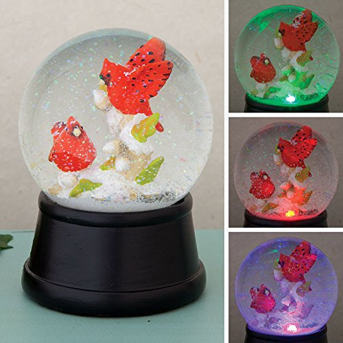 Bits and Pieces – Cardinals Glass Snowglobe – with Falling Snowflakes & Color Changing LED Lights – Home Décor