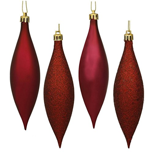 Vickerman 480342 – 5.5″ Burgundy Finial 4 Assorted Finish Christmas Tree Ornament (Set of 8) (N500165)