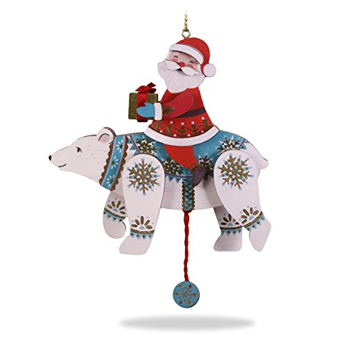 Hallmark Keepsake Christmas Ornament 2018 Year Dated, Pull-String Polar Bear and Santa, Wood Polarbear