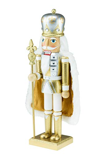 Clever Creations Wooden King Nutcracker | Wearing Gold and White Outfit and Cape with Staff | Festive Decor | Perfect for Shelves and Tables | 100% Wood | 14″ Tall
