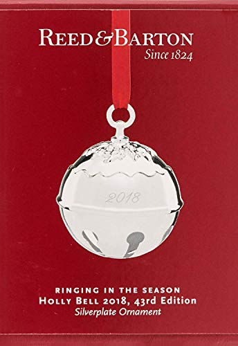 Reed & Barton 877593 Annual Holly Bell Ornament 2018, Silver
