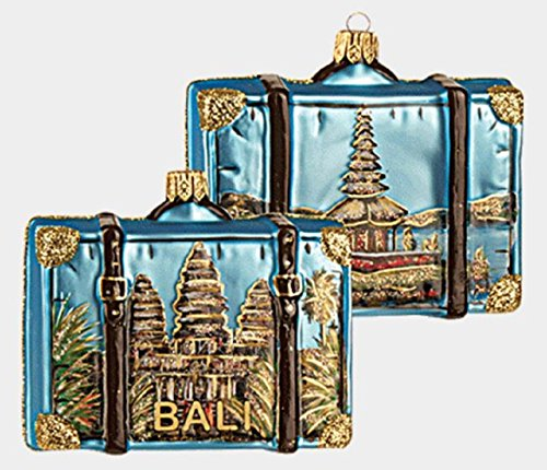 Pinnacle Peak Trading Company Island of Bali Travel Suitcase Polish Glass Christmas Ornament Indonesia ONE pc