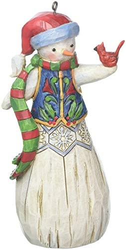Enesco Department 56 Jim Shore Folklore Snowman with Cardinal, 4.75″ Hanging Ornament Multicolor