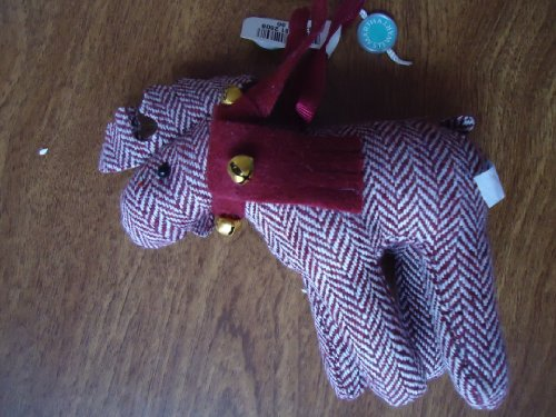 Martha Stewart 2008 burgundy tweed plush fabric Moose with Bells Christmas Ornament 5″