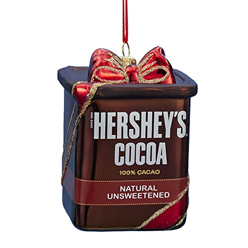 Kurt Adler Glass Hershey's Cocoa Ornament, 3.75-Inch