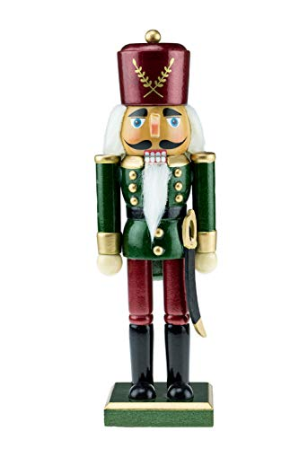 Clever Creations Wooden Green and Maroon Traditional Soldier Nutcracker | Festive Green and Maroon Soldier Military Outfit | Festive Christmas Decor | Stands 10.25″ Tall Perfect for Shelves and Tables