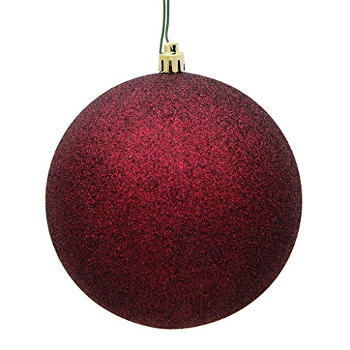 Vickerman 457429-2.75 Burgundy Plastic Glitter Ball Christmas Tree Ornament (12 pack) (N590705DG)
