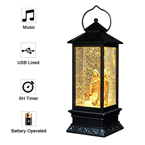 Eldnacele Musical Lighted Christmas Church Baptism Water Glittering Snow Globe Lantern, Electric LED Battery Operated & Plug in Lantern with 6-Hour Timer, Baptism