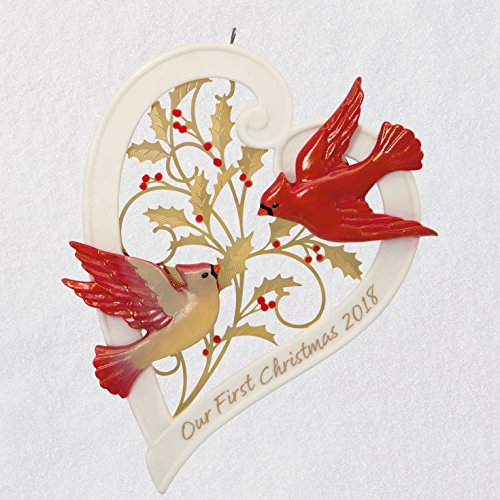 Hallmark Keepsake Christmas Ornament 2018 Year Dated, Our First Christmas Together Heart, Porcelain