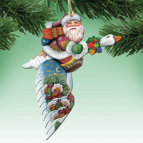 G. Debrekht Christmas Ornaments – Goose Traveling Santa Decorative Holiday Ornament 8114060