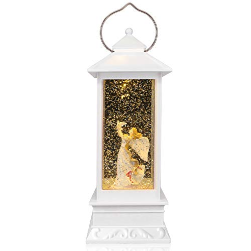 QTKJ USB and Battery Operated Cute Angel Night Lamp Spinning Water Lantern Snow Globe Lantern for Desk, Room Decoration Gifts (White)