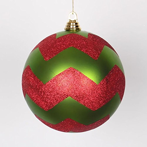 Vickerman Lime Green Matte with Red Glitter Chevron Commercial Size Christmas Ball Ornament 8″ (200mm)