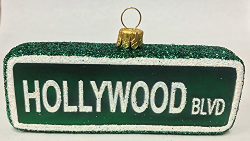 Pinnacle Peak Trading Company Hollywood Boulevard Street Sign Polish Glass Christmas Ornament California USA