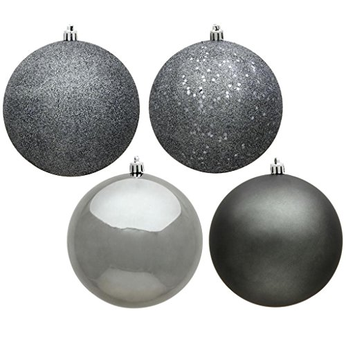 Vickerman 443279-1″ Pewter 4 Assorted Finishes Ball Christmas Tree Ornament (18 pack) (N590327)