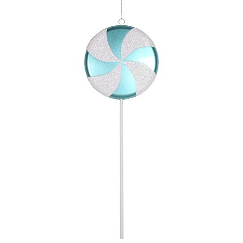 Vickerman Plastic Candy Lollipop with Iridescent Glitter, 17″, Teal and White