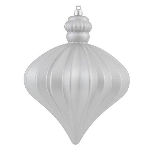 Vickerman 346549-5.5 Silver Shiny-Matte Onion Christmas Tree Ornament (set of 2) (N147807UV)