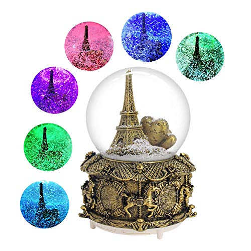 DELIWAY Eiffel Tower Musical Snow Globe with Automatic Snowfall and Colorful Lights, 100mm 6″ Tall Souvenirs Collection (Gold Tower)