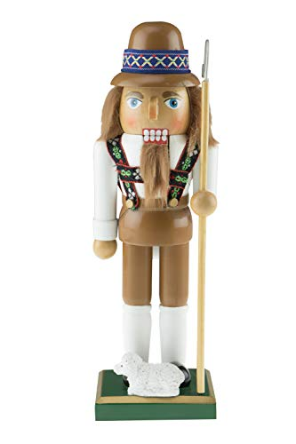 Clever Creations Tan Shepherd Nutcracker   Traditional Shepherd Nutcracker Wearing a Brown Hat and Wood Staff with Baby Lamb   Shepherd Nutcracker is 10″ Perfect for Shelves and Tables   100% Wood