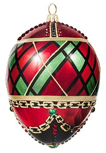 Joy To The World Glitterazzi Tartan Plaid Jeweled Egg Polish Glass Christmas Ornament Poland New
