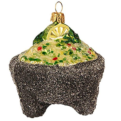 Pinnacle Peak Trading Company Guacamole Bowl Polish Glass Christmas Tree Ornament Mexican Food Decoration