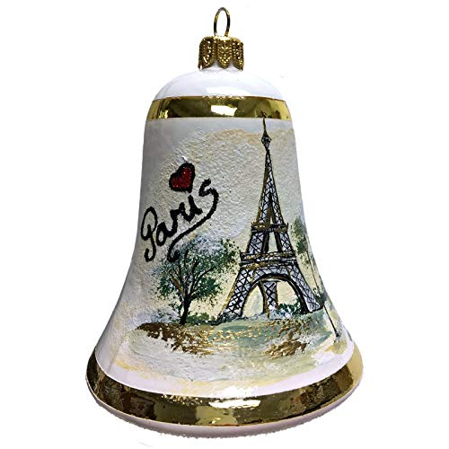 Pinnacle Peak Trading Company I Love Paris Bell Polish Glass Christmas Ornament France Travel Eiffel Tower