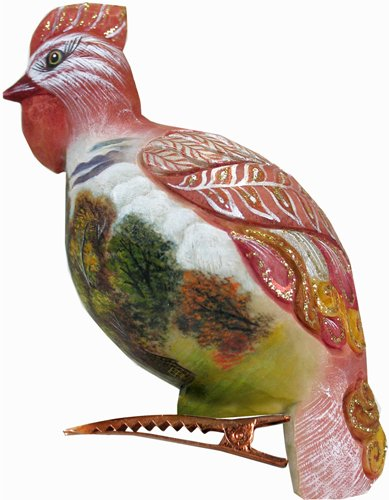 G.DEBREKHT / RUSSIAN GIFT Hen Clip Pink Ornament – Russian Hand Crafted Hand Painted Folk Art 62414-1-GDB