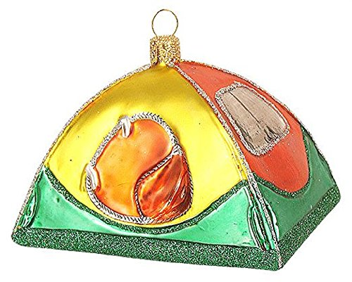 Pinnacle Peak Trading Company Camping Tent Polish Glass Christmas Tree Ornament Decoration Outdoor Living