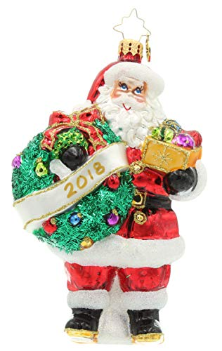 Christopher Radko Holly Jolly Year 2018 Santa Claus Christmas Tree Ornament